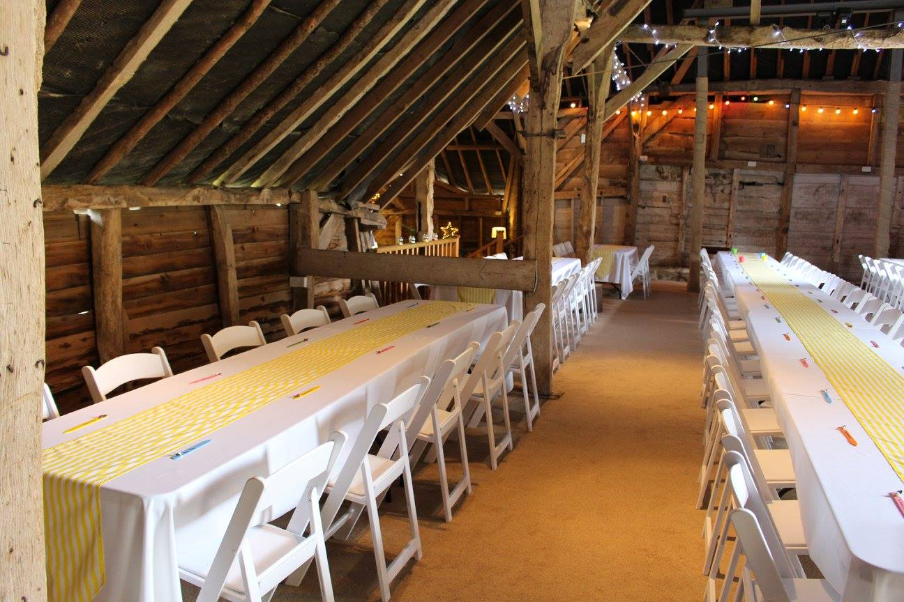 Barn wedding long tables